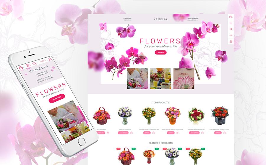 Thème Shopify adaptatif pour magasin de fleurs