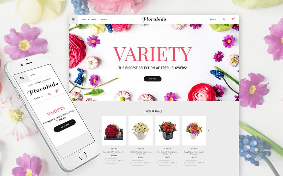 Modèle VirtueMart adaptatif pour magasin de fleurs