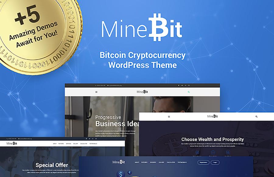 MineBit - Bitcoin Cryptocurrency WordPress Tema