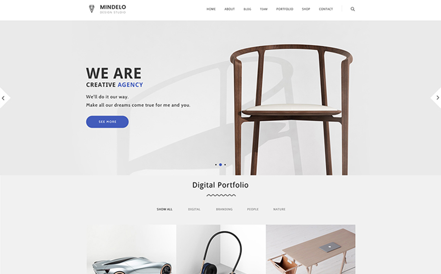 Mindelo: tema WordPress bello, forte e minimalista per il portfolio