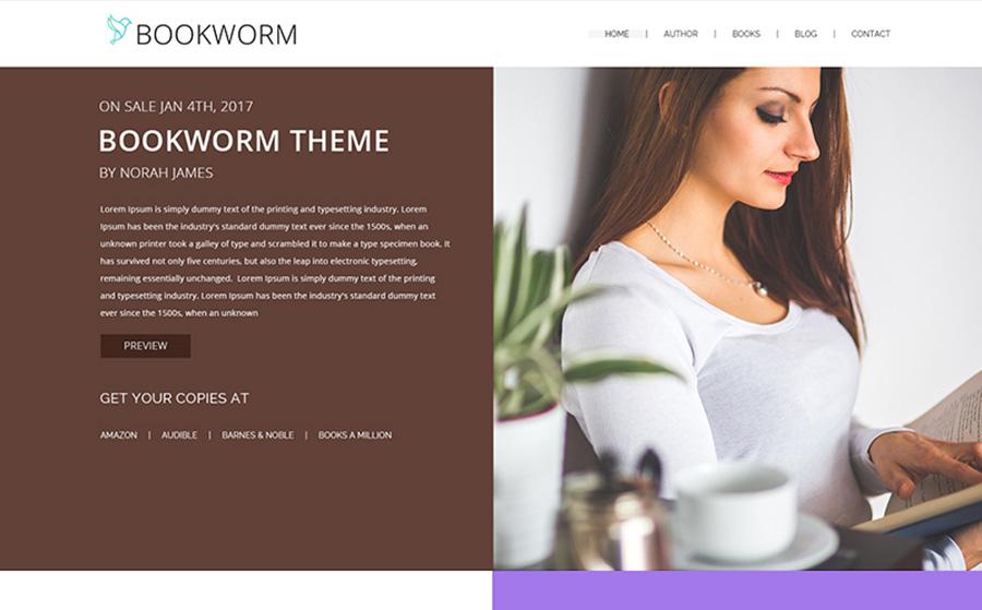 NF Book Worm - Tema WordPress interessante, pulito e minimalista FullScreen per autori di libri