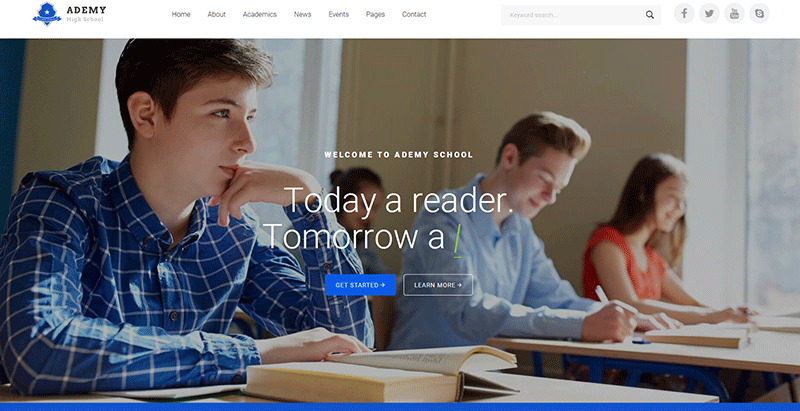Ademy themes wordpress creer site web ecoles universites college