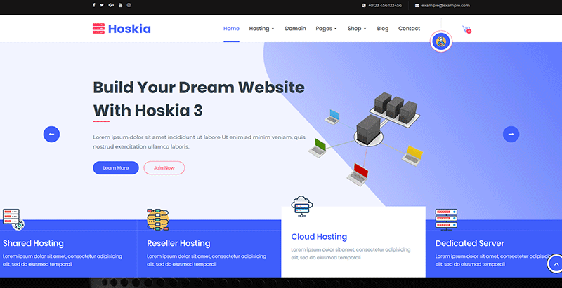 Hoskia themes wordpress creer site web entreprise hebergement hosting