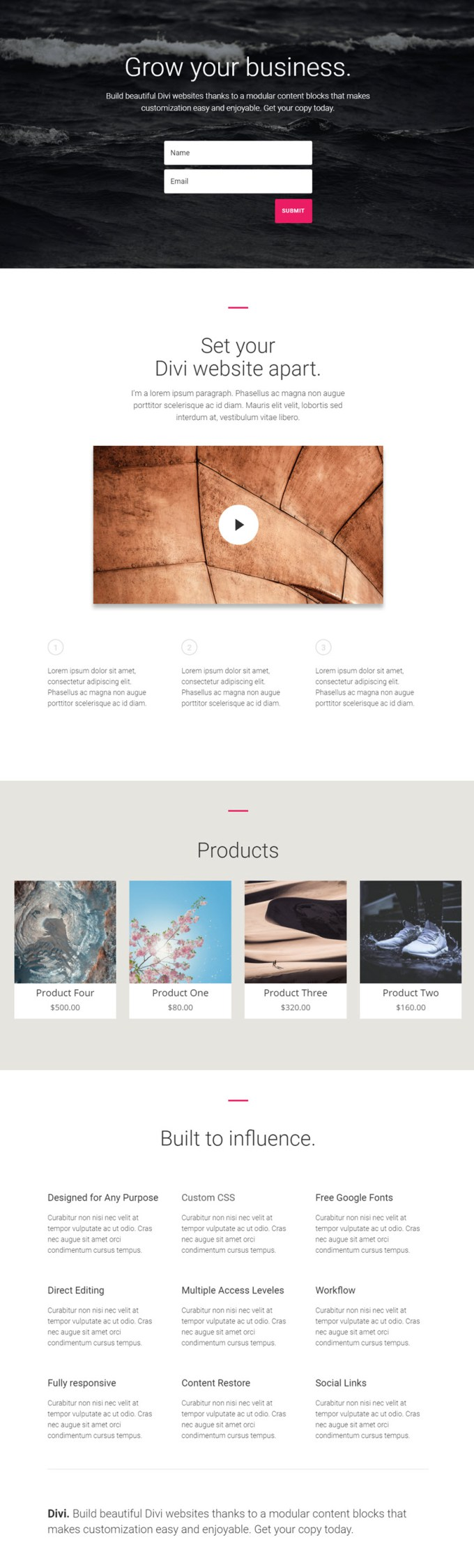 display products on an accel page divi.jpg