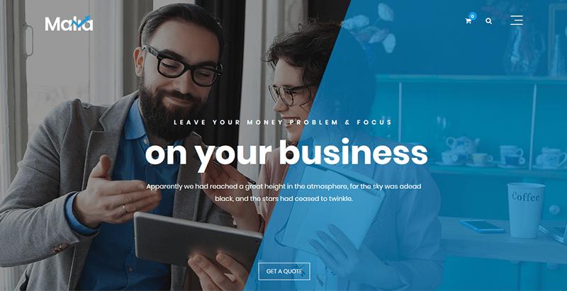 thèmes WordPress pour créer un site web de startup Malia