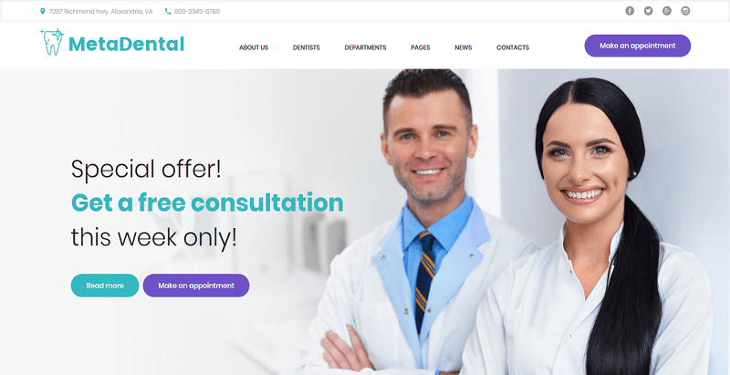 meilleurs thèmes WordPress d'hôpital - Metadental