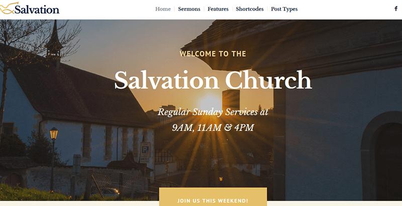 Temas da igreja de salvação moderno wordpress criar site religião igreja