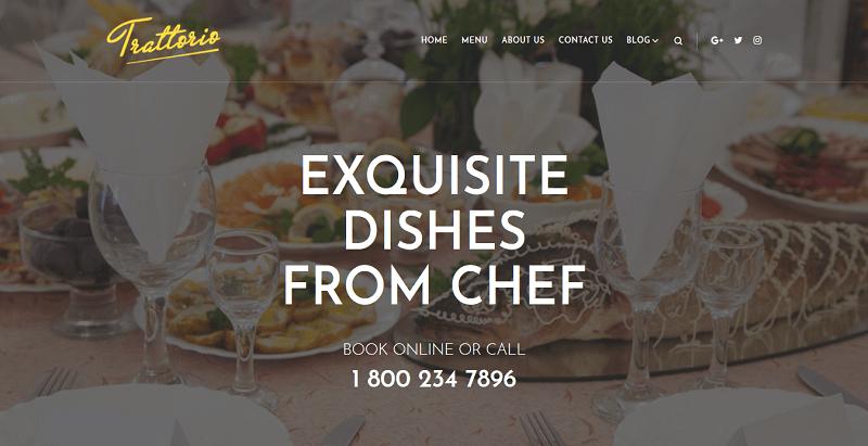 Trattorio themes wordpress creer site internet restaurant cafe