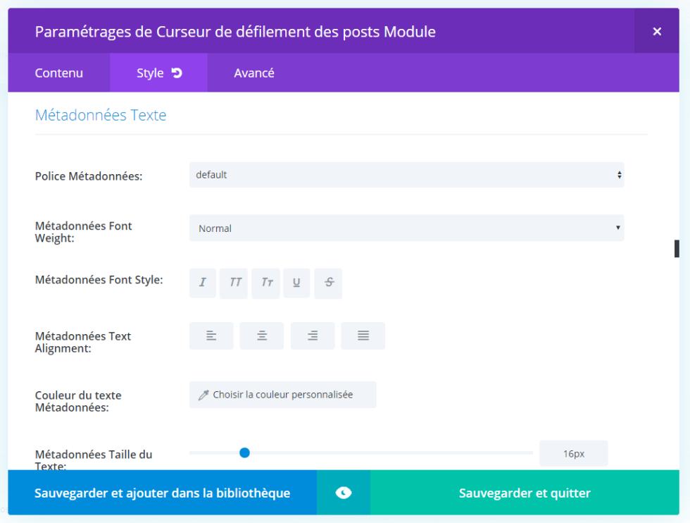 Section meta module slider divi