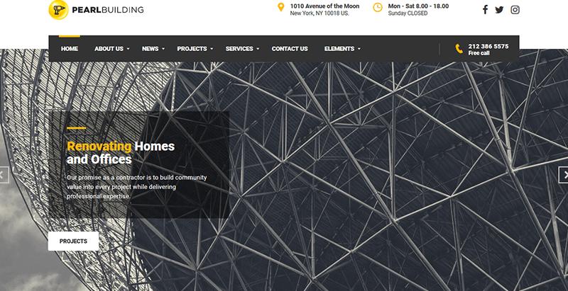 Pearl theme wordpress créer site web construction architecte