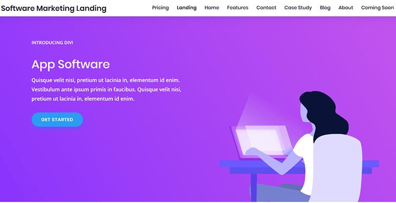 thèmes WordPress pour créer un site web de startup Software marketing