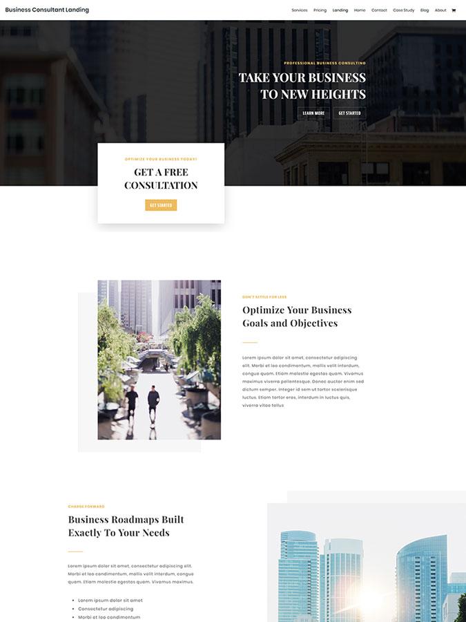 Divi wordpress theme layouts créer site internet consultant business affaires avocat cabinet