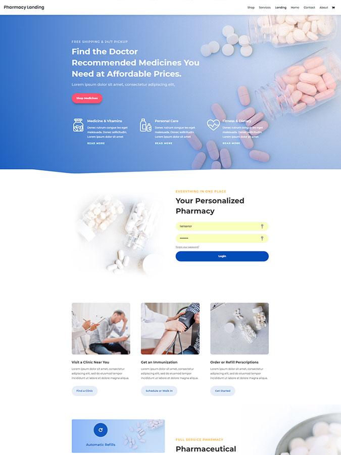 Divi wordpress theme layouts créer site web blog pharmacie pharmacien vendre médicaments