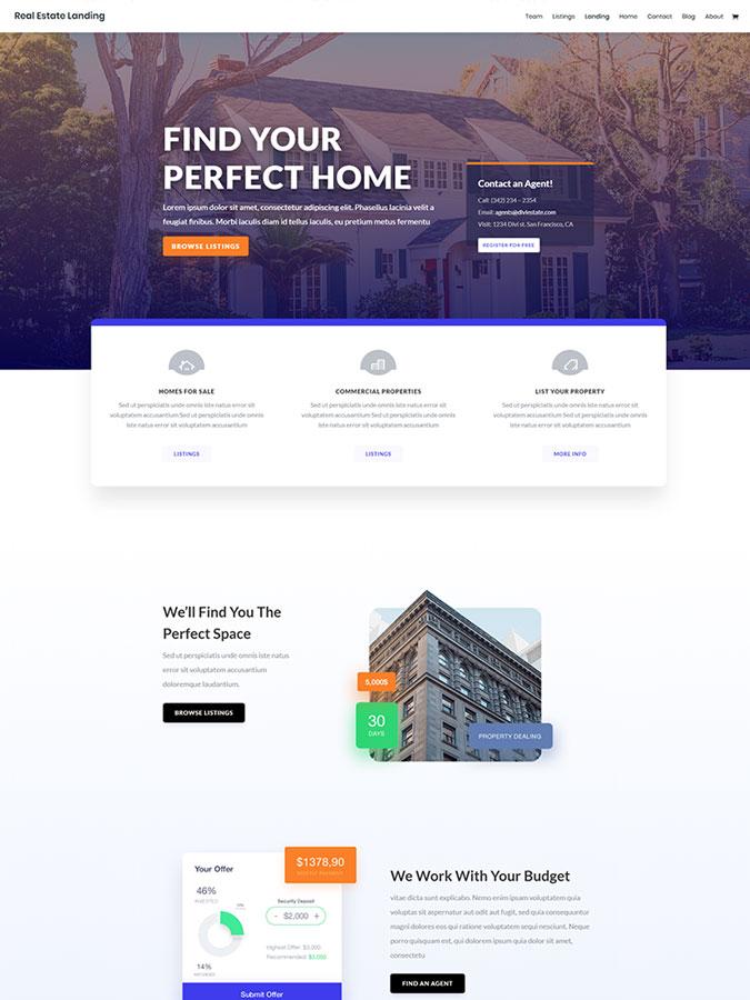 Divi wordpress theme layouts créer site web blog vendre maison real estate