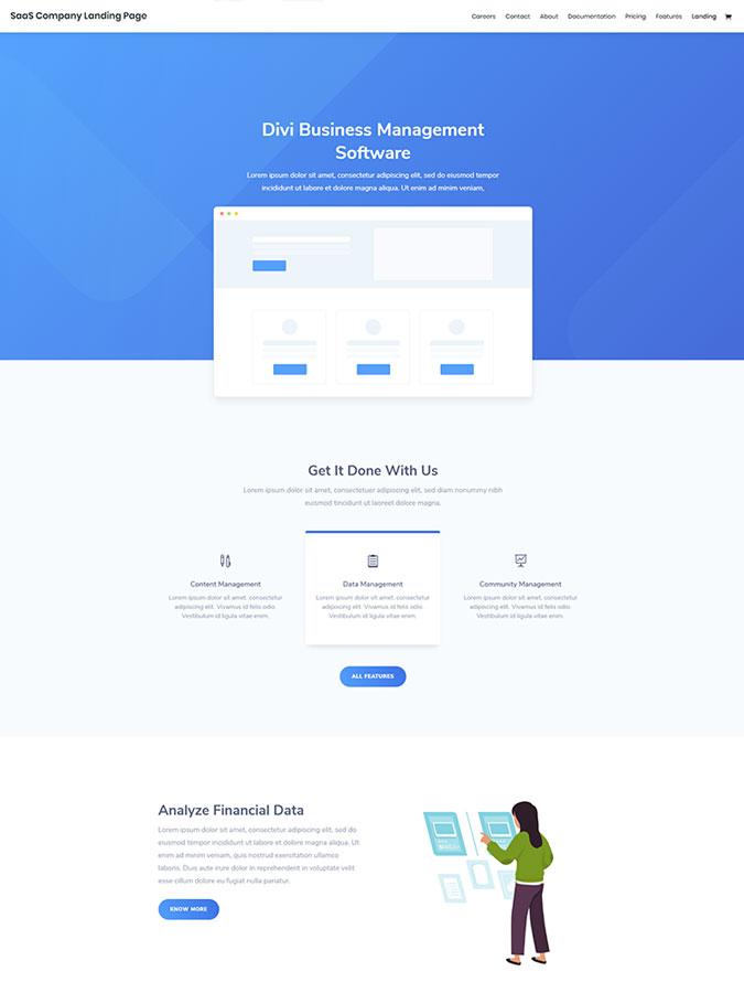Divi wordpress theme layouts créer site web saas company site web