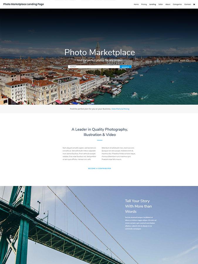 Divi wordpress theme layouts créer site web vendre photographie marketplace photo