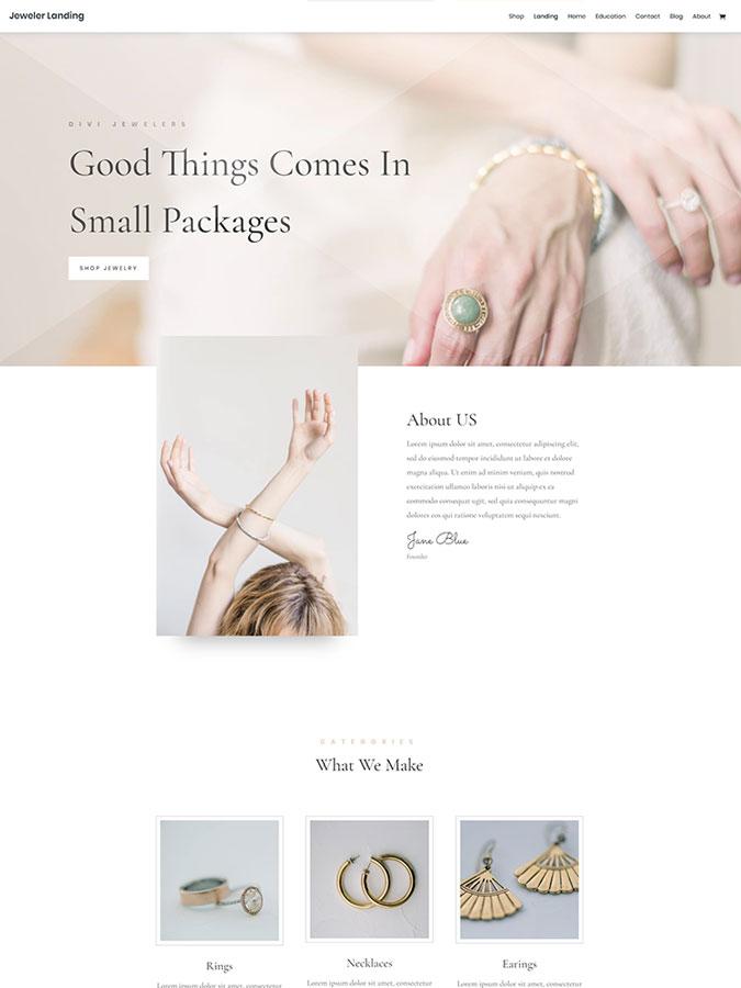 Template layout divi créer site web joaillier vente bijoux luxe