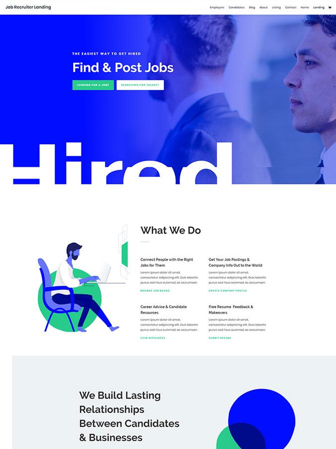 Template layout divi créer site web job listings emploi ligne