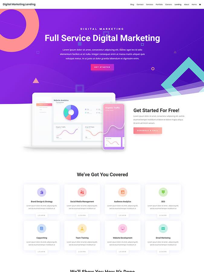Thème wordpress agence marketing digital divi layout templates