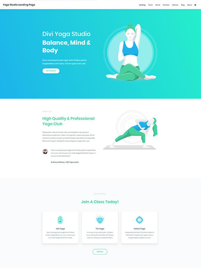 Thème wordpress créer site web yoga sport fitness divi template layout
