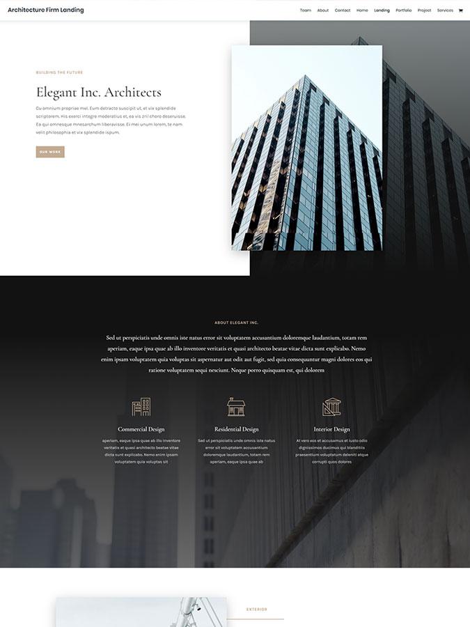 Thème wordpress divi architecture architechture construction site internet