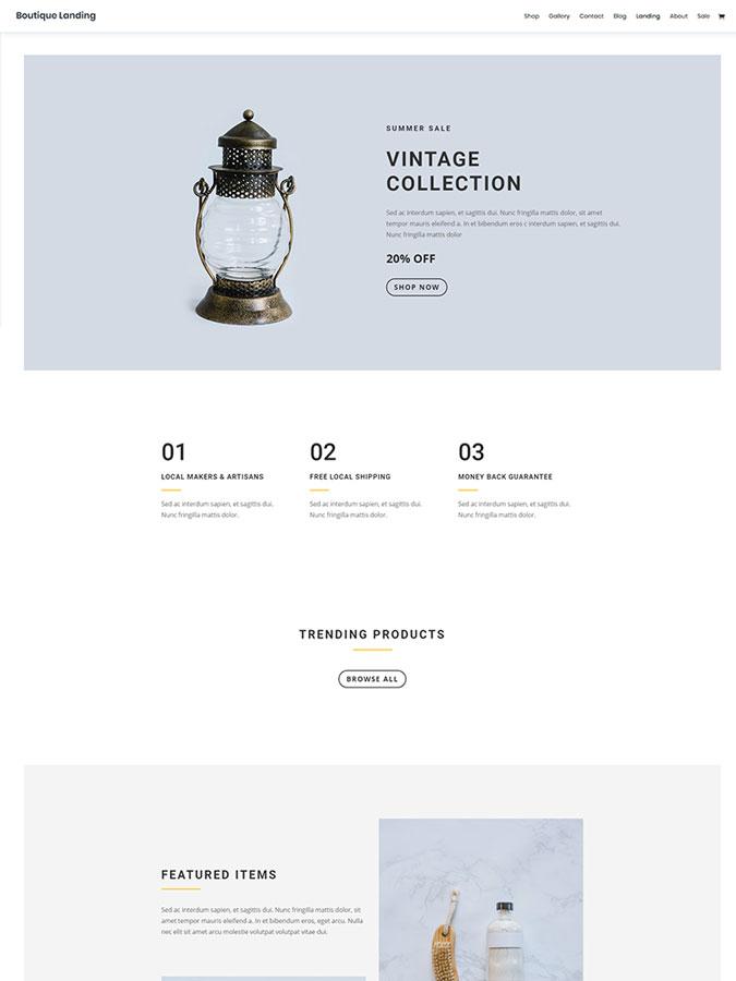 Thème wordpress divi créer boutique en ligne site ecommerce vendre vintage produits