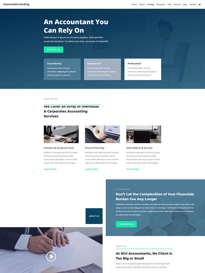 Thème wordpress divi créer site web comptable consultant audit financier