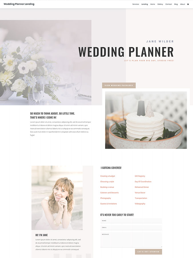 Thème wordpress divi mariage wedding planner créer site web template