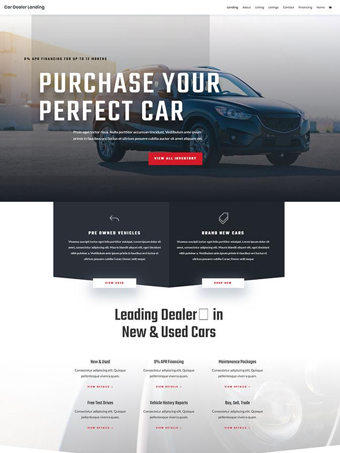 Thème wordpress divi vente location achat voitures véhicules templates car dealer