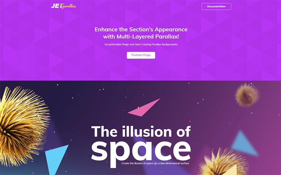JetParallax - Addon para Elementor Builder WordPress Plugin Page