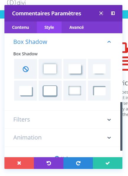 Box Schatten Divi Builder Modul comment.png