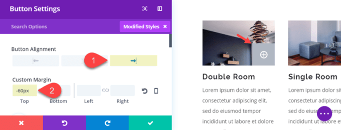 change the alignment of a divi.png button