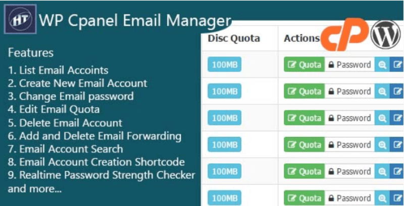 Cpanel email manager wordpress plugin