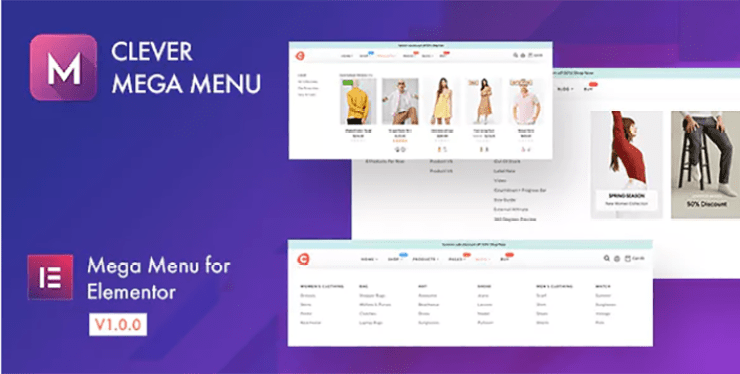 Clever mega menu elementor plugin wordpress
