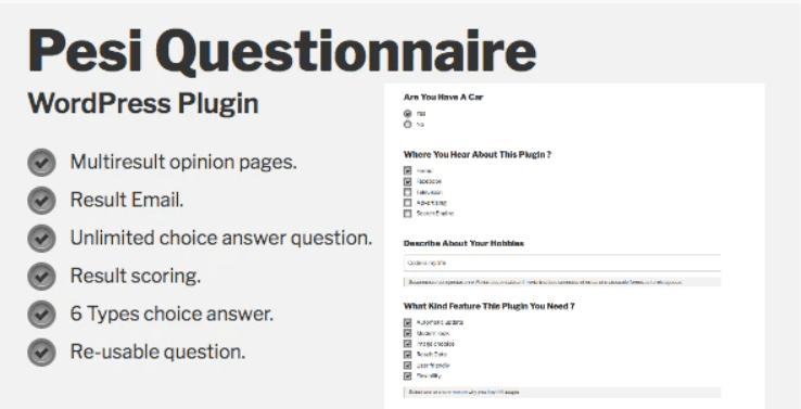 Pesi questionnaire multiresult survey and quiz wordpress plugin