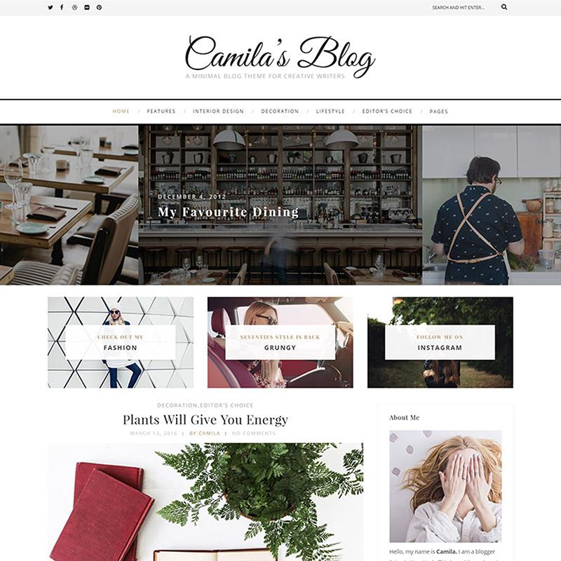 Camila - Tema de WordPress para Minimalista Blog