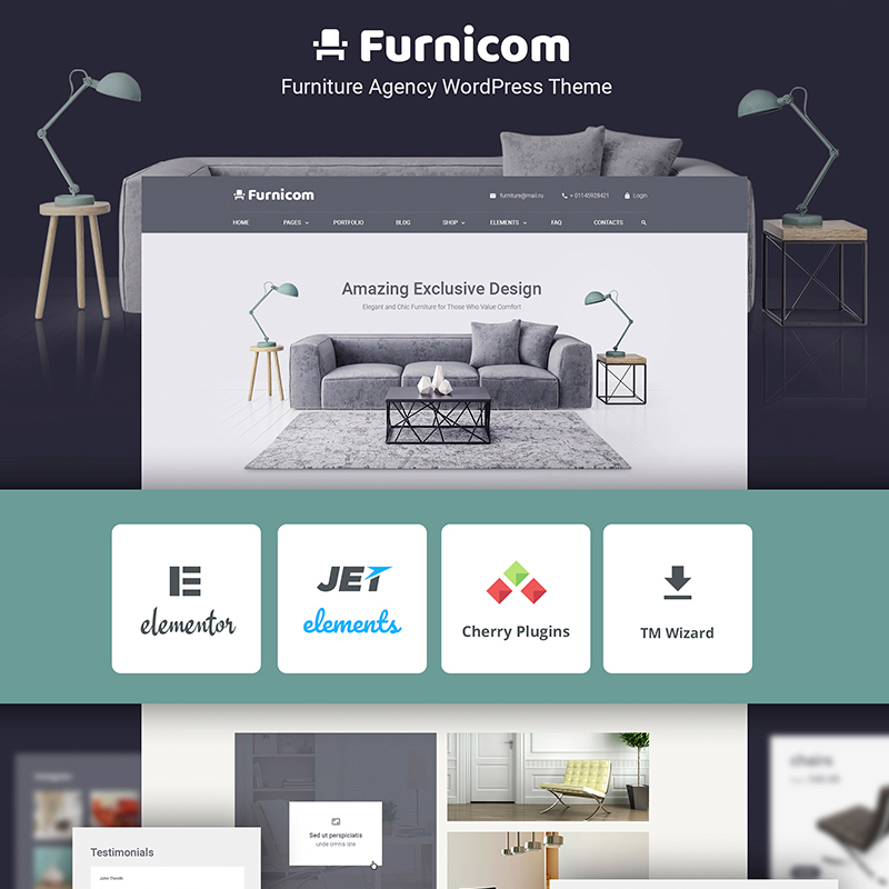 Free Furnicom - Elementor Furniture Store WordPress Theme