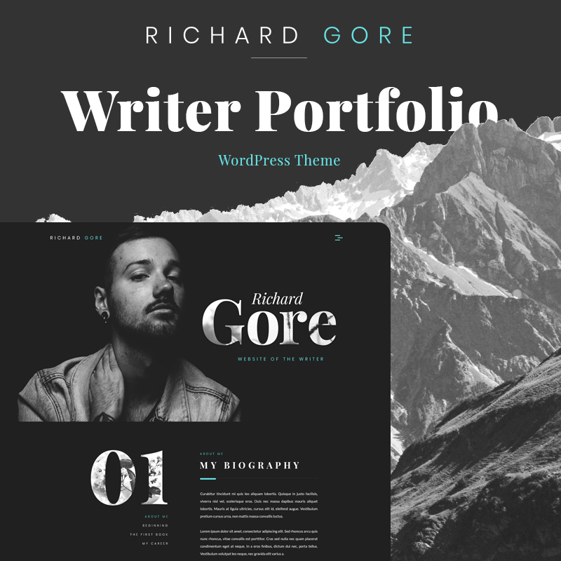 Richard Gore - Thème WordPress Elementor pour portfolio d'écrivain