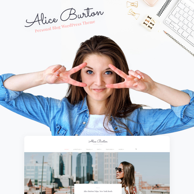 AliceBurton - Elementor WordPress Theme para Blog personal