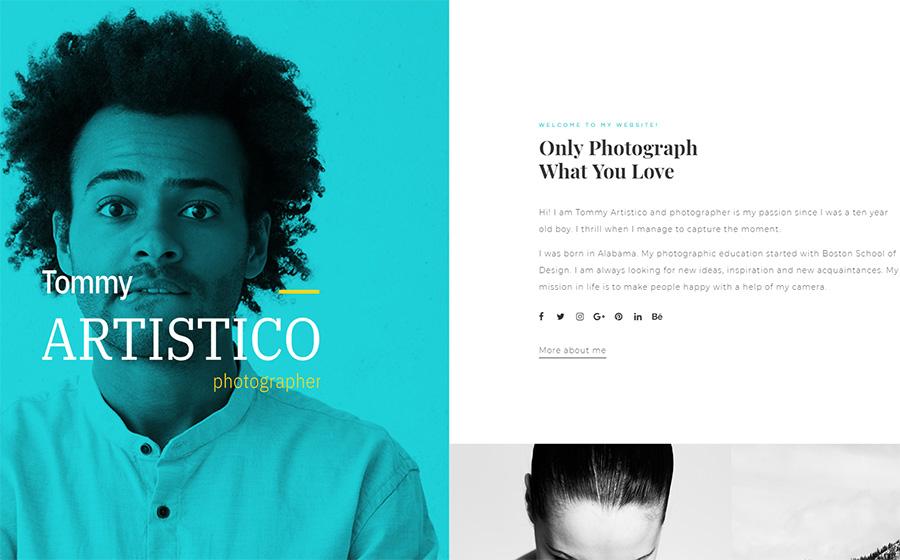 Tommy Artistico - Thème WordPress Elementor pour Galerie de photographe