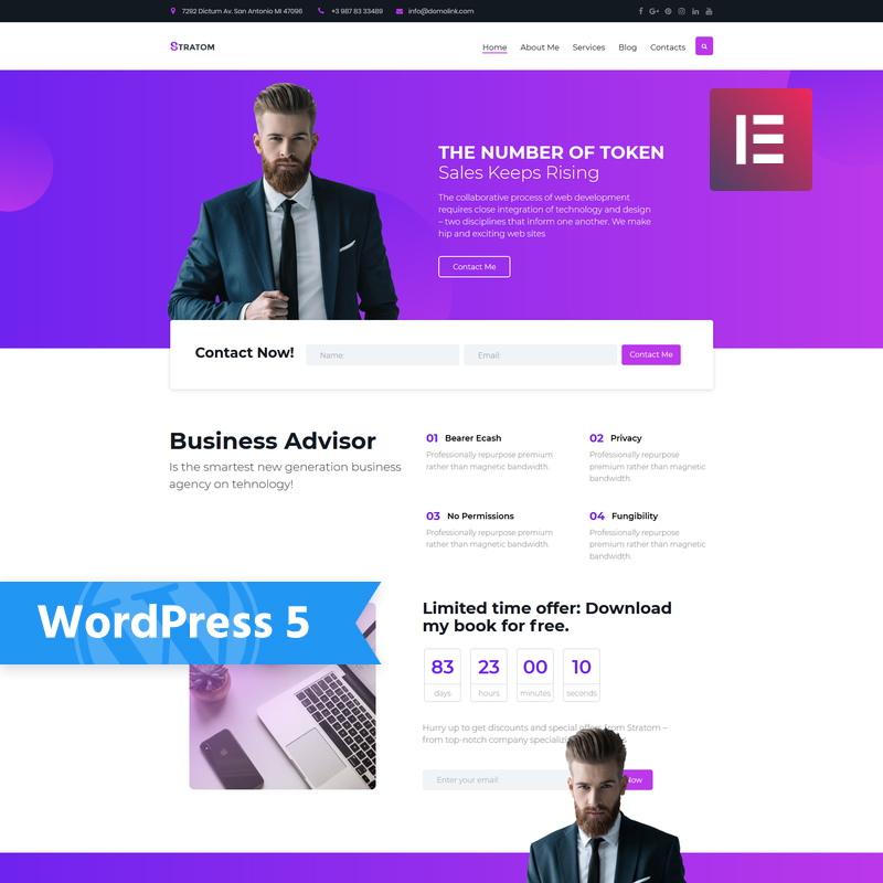 Stratom - многофункциональный бизнес-анимированный элемент WordPress Theme