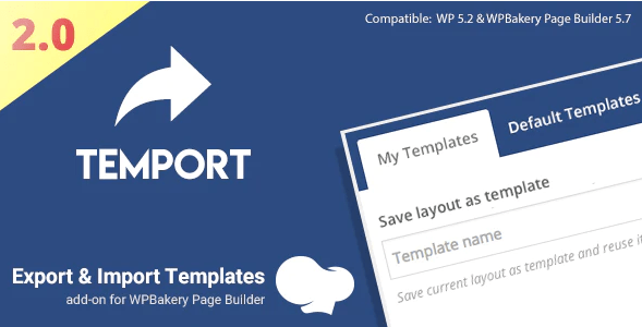 Export import template for wpbakery page builder temport plugin wordpress