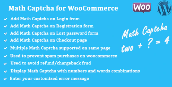 Math captcha for woocommerce plugin wordpress