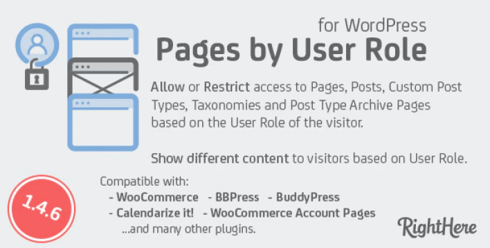 Pages by user role for wordpress plugin
