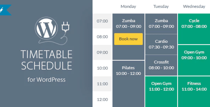 Timetable responsive schedule for wordpress plugin