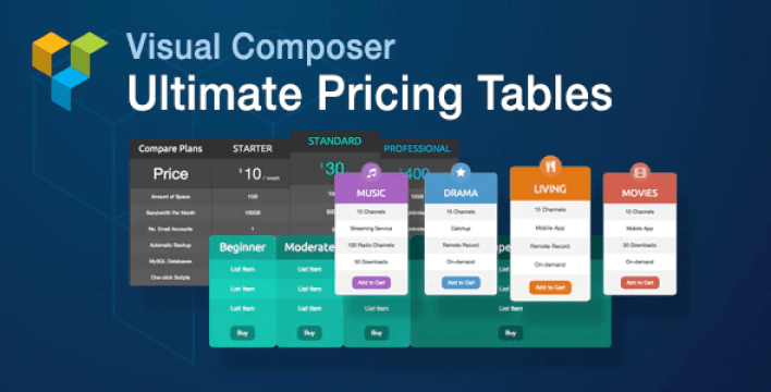 Visual composer ultimate pricing tables add on plugin wordpress