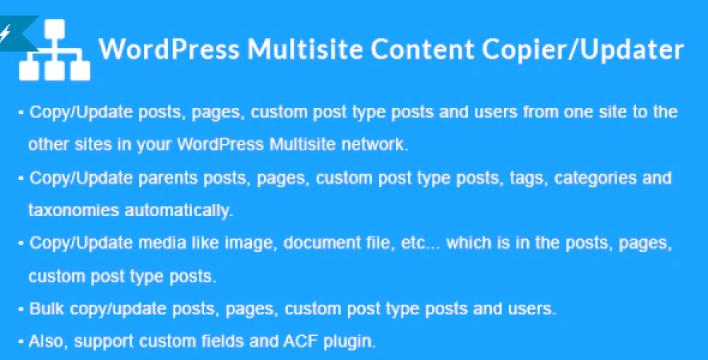 Wordpress multisite content copier updater plugin wordpress