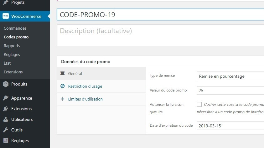 Créer code promo woocommerce
