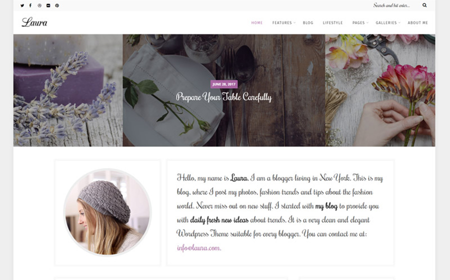 Laura - Feminine Blog WordPress Theme
