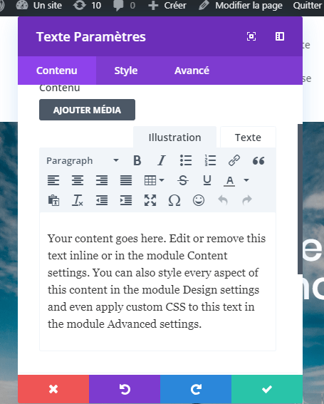 Ajouter un module texte divi